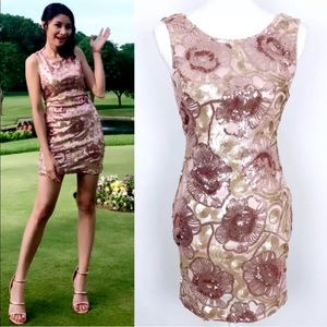Ark&Co Small Rose Pink Sequin Mini Dres Homecoming